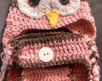 Hoot Hoot Owl Hat and Diaper Cover set