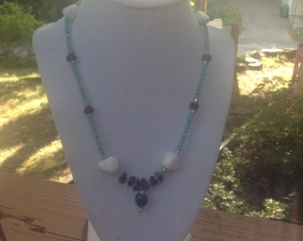 Green Agate & Snow Quartz Necklace and braclet set