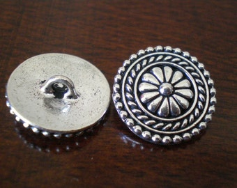 "3 - TierraCast Large Bali Metal Buttons with Shank  3/4""  (18mm)"