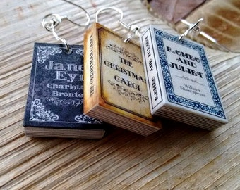 Miniature Book earrings, Classic novel Earrings, Book jewelry, novel jewelry, jane austen, book geek, book nerd