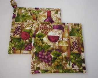 """Handmade Quilted Pot Holders, Hot Pads orTrivets, Terry Filled, Wine Bottles and Fruit, With Hanging Loop, About 7"""" Square (PotHolders2119)"""