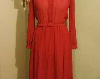 Red C&A Long Sleeved Dress Bust 40""