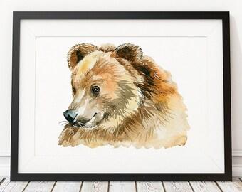 Wildlife print Bear poster Animal print Watercolor art ACW557