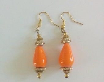 Yellow Orange tear drop ear ring