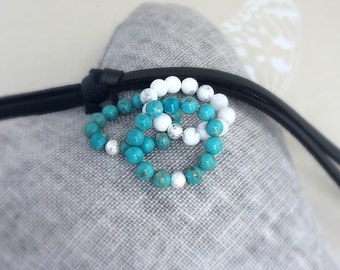 Howlite rings, turquoise ring, turquoise Magnesite, stacking rings, beaded jewellery