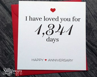 Cute anniversary card I have loved you for number days happy anniversary, for her, him gift idea for husband, wife girlfriend boyfriend A11