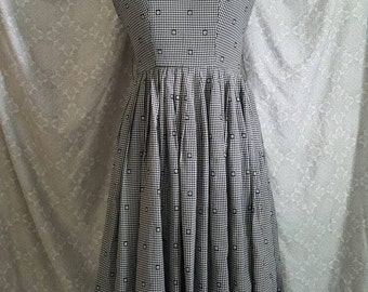 Classic 50's Sundress Black and White Checkered Pattern