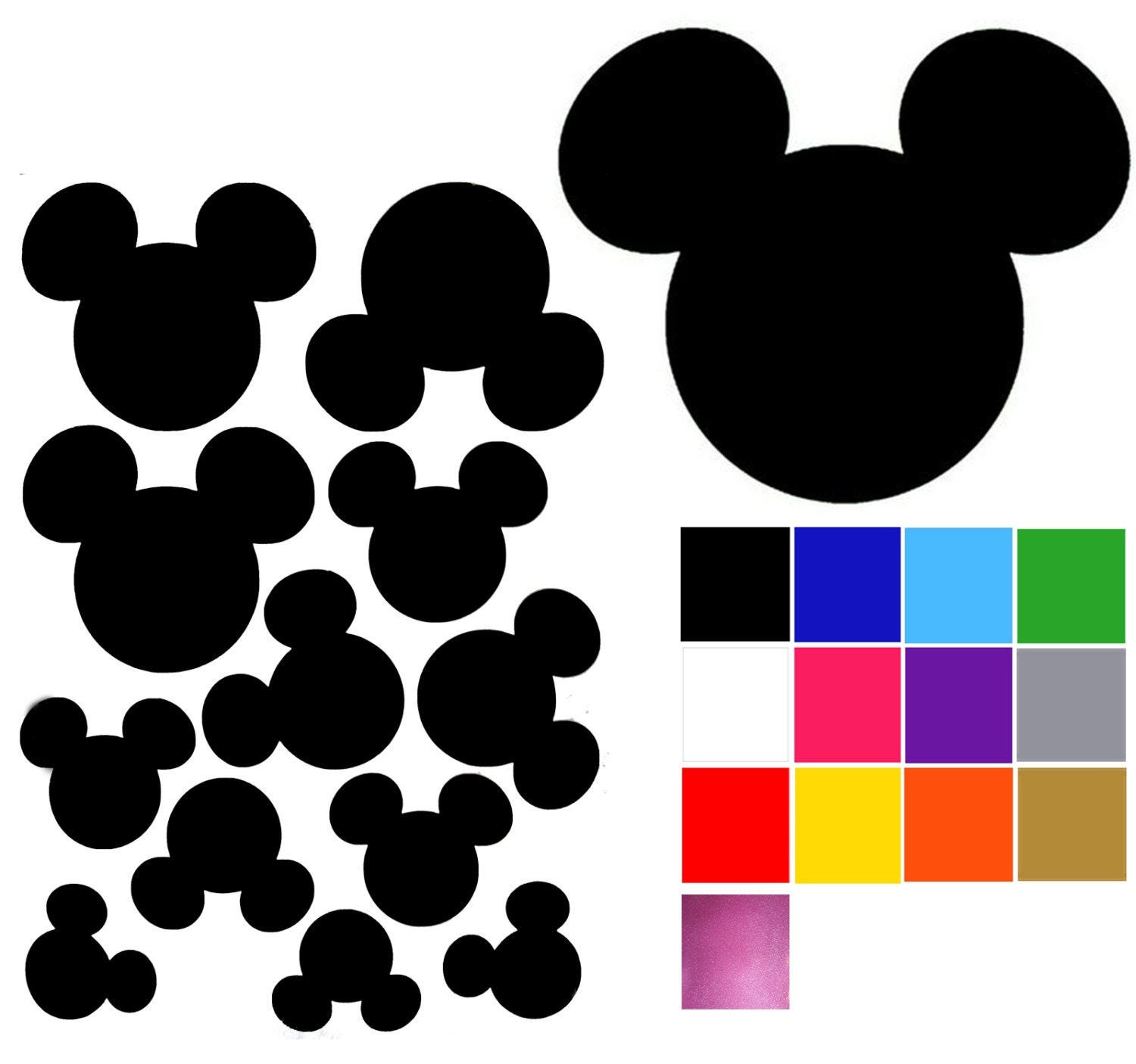 mickey mouse wall decal x 12 mickey mouse wall stickers 8. Black Bedroom Furniture Sets. Home Design Ideas