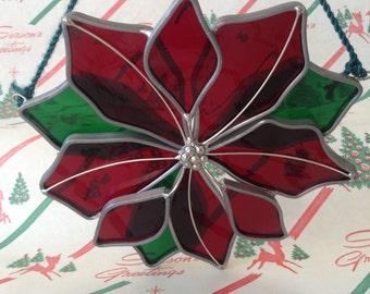 C.1960's~Poinsettia~Sun Catcher~Stained Glass Art~Christmas Flower