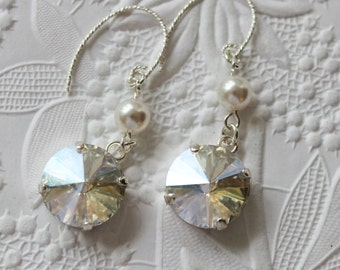 Swarovski Rivoli crystal and pearl earrings