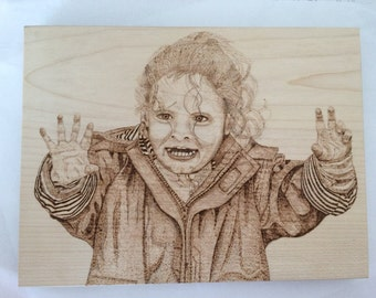 Personalised Portrait Pyrography Solid Sycamore Wood Freestanding Picture Plaque