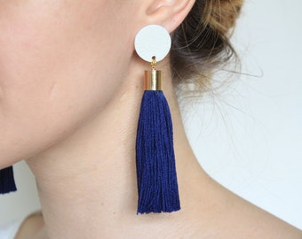Navy Blue Tassel Earrings • Statement Jewellery • Leather Earrings with Tassels • Cotton Tassel • UK Earrings • Recycled Leather • Feminine