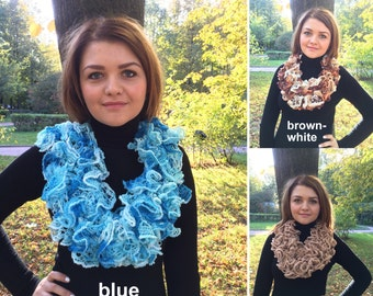 Handmade Knit Ruffle Scarf in Beige, White and Brown, Blue