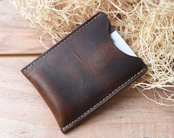 Leather Card Sleeve, Groomsmen gift wallet, Minimalist Wallet, Awesome groomsmen gift, Front pocket wallet