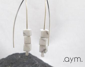 white howlite threader earrings, modern sterling silver earrings, minimalist, natural stone cube earrings, gift for her, stocking stuffer