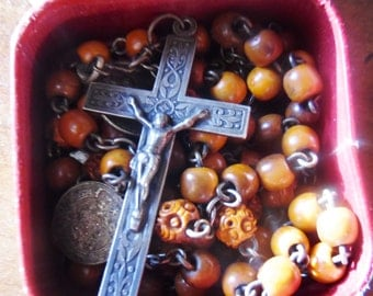 French Rosary (Catholic) with cross and medals
