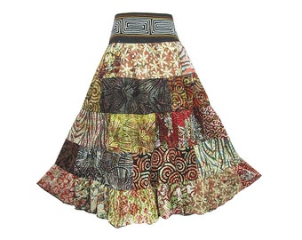 Boho Hippie Cotton Patchwork 5-Tier Broomstick Skirt  (M0700)