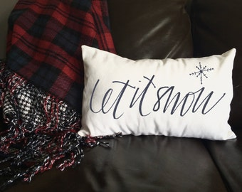 Let It Snow Pillow, Winter Pillow, Christmas Pillow, Decorative Pillow, Christmas Gift, Whimsical Pillow, Holiday Pillow, 12x16 Pillow