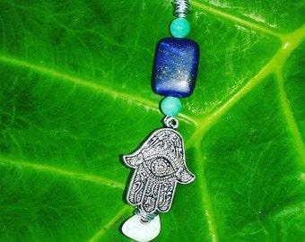 Lapis Hamsa Aqua Quartz Moonstone Necklace