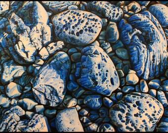 "Landscape Art Print -""Blue Rocks"", Limited Edition Giclee Print on Fine Art Paper, 12"" x 16"""