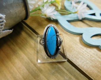 Sterling Silver Bright Blue Turquoise Ring