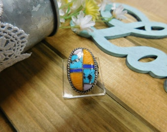 Sterling Silver Oval Inlay Ring Turquoise, Spiny, and Lapis