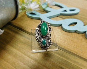 Vintage Silver and Malachite Ring