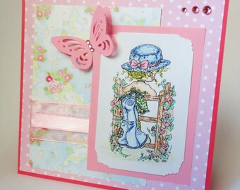 Pink Card, Summer Card, Flower Card, Girly Card, Birthday Card, Greeting Card, Thank You Card, Pastel Card, Butterfly Card, Pink and Blue