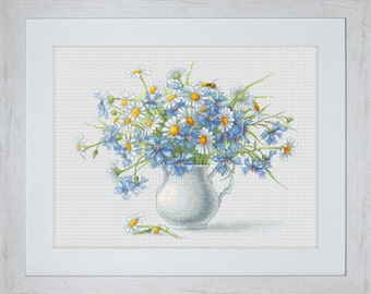 Cross Stitch Kit Cornflowes and Camomiles Luca-s