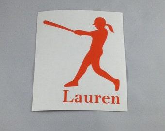 """Girl Softball Player Decal 3x4"""""""