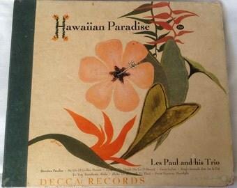 "Vintage ""Hawaiian Paradise"" 78RPM Album by Les Paul and His Trio- Decca Records - 1949"