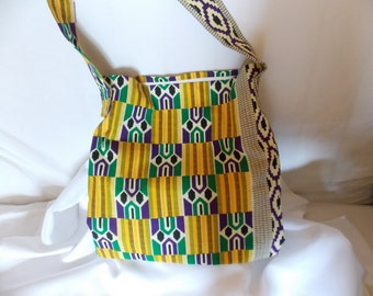 Large over the body bag African fabric - handmade