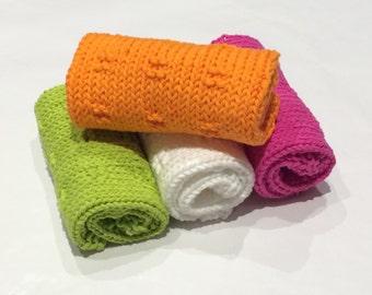 Hand Knit Washcloths, Hand Knit Dishcloths - Cotton Wash Cloth, Kitchen and Bath, Handmade, Set Of 4, 100% Cotton, Bath and Body, Gift Set.