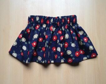 Skirt in blue Japanese flower tissue - 6 months