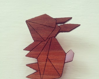 Laser Cut Wood Brooch Geometric Bunny purple tail
