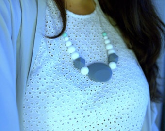 The Helene Necklace - Casual Chic Chewable Jewellery - Mint Grey and White MintyWendy
