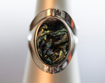 9.50 Silver Double Sided Abalone Onyx Ring