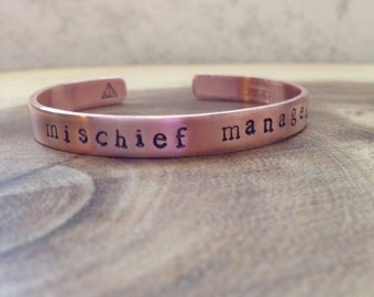 mischief managed cuff    harry potter jewelry + handstamped + customized cuff + best friends gift + personalized gift + gold bracelet