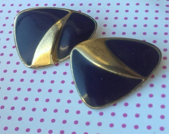 Vintage Navy Mad Men  Blue Golden Rounded Triangle Clip Earrings