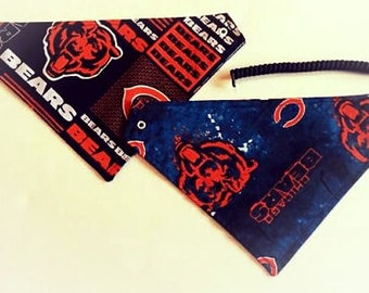 Chicago football fabric, reversible custom pet bandana, Sizes XS-XL, no tie, no collar, dog scarf, pet scarf, dog bandana, pet clothing