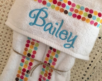 Girl Hooded Bath Towel - Handmade personalized baby and toddler towel