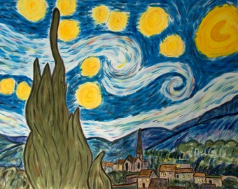 Silk Painting, Starry Night, Vincent van Gogh, Hand painted,