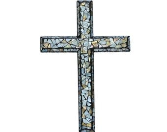 Christian Wall Cross - Mother of Pearl Shell Inlaid