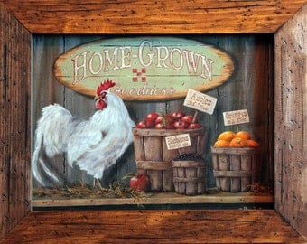 "Rooster Decor 15x19 Rooster Art Print and Quality Handcrafted Wood Frame Rooster Wall Decor ""Home Grown Goodness"" Rooster"