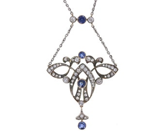Sapphire and Diamond Belle Époque Pendant