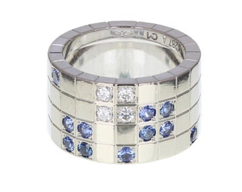 Cartier Diamond and Sapphire Lanieres Band Ring