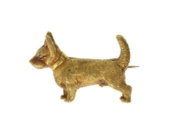 Antique Victorian 15ct Gold Corgi Dog Brooch