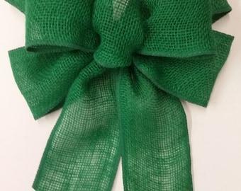 Green Burlap Bow