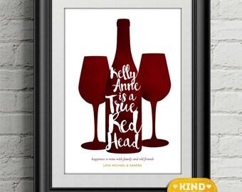 Red head...wine lover personalised print