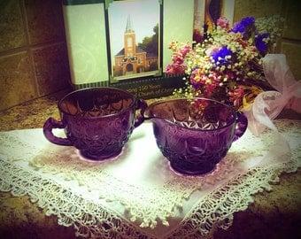 Vintage Purple Glass Creamer and Sugar set